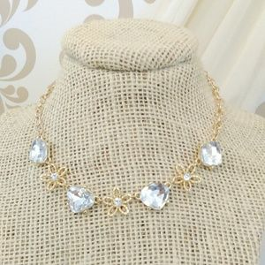 Jewelry - Rhinestone and Flower Charms Gold Tone Necklace